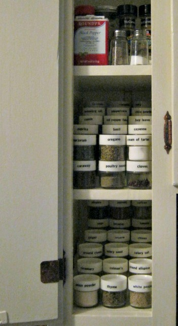 "Spice Cupboard - the ""stair steps"" are just boards cut to size and stacked."