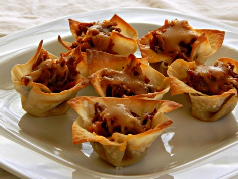 Filled WonTon Cups - these are filled with Pulled Pork and Cheese
