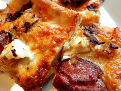 Braised Sausage & Sauerkraut Pizza with Bacon & Ricotta