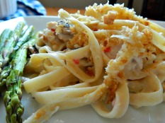 Turkey Tetrazzini made with a substitute for canned soup, cream of anything soup https://frugalhausfrau.com/2011/11/13/turkey-tetrazzini/