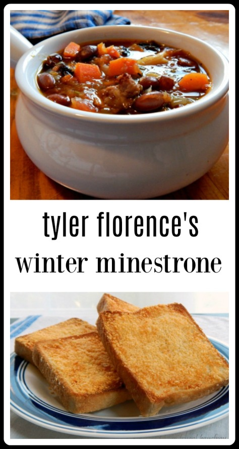Tyler Florence's Winter Minestrone - so good and flavorful and the man is a genius - noodles are cooked by themselves and added in as needed. Serve with Parmesan Toast.