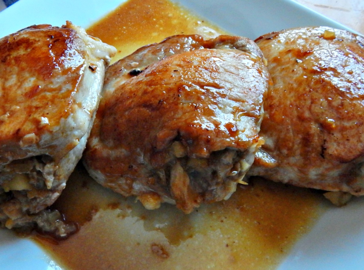 Apple Glazed Stuffed Pork Chops | Frugal Hausfrau