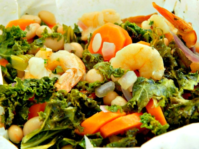 Shrimp and Kale Bundles with White Beans