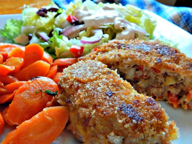Tuna Cakes with Salad & Glazed Carrots
