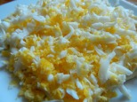 The eggs take seconds if grated rather than chopped