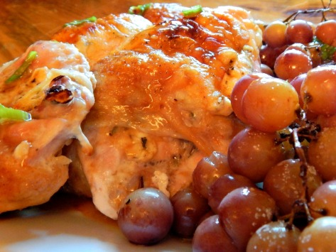 Feta & Herb Stuffed Chicken with Roasted Grapes