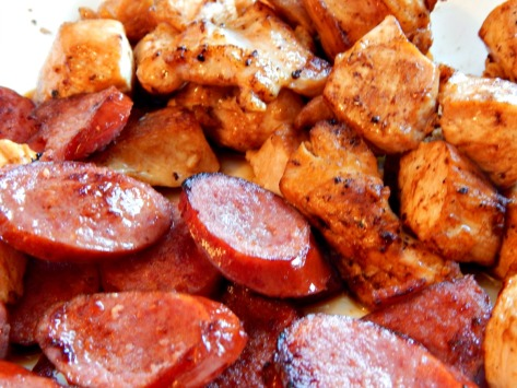 Do get a good color on sausage and chicken - the chicken should not be cooked through at this point