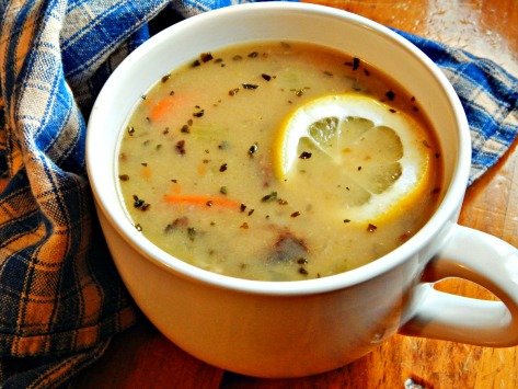 Elegant Mushroom Lemon Basil Soup with Wild Rice
