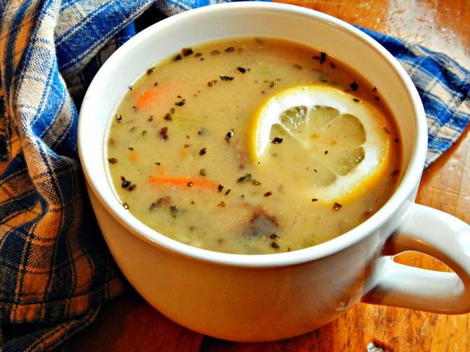 Elegant Mushroom Lemon Basil Soup with Wild Rice