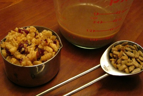 4 tablespoons dressing, 1/3 cup cereal and less than a tablespoon of sunflower seeds, all for $2.39