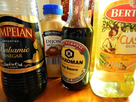 Ingredients for Melissa d'Arabian's Mustard Vinaigrette, just a bit lower end