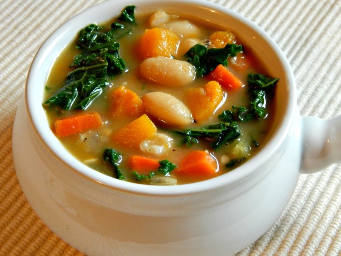 White Bean & Kale Soup over Croutons