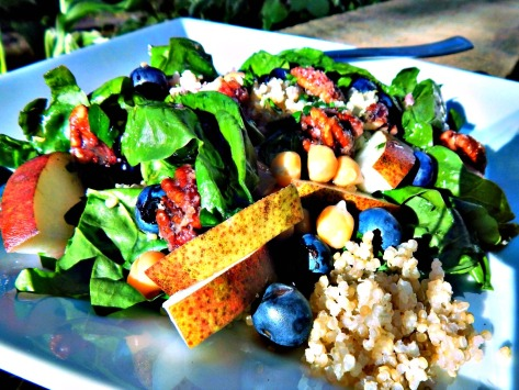 Spinach Quinoa Salad with Candied Pecans