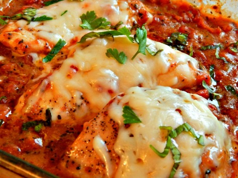 Chicken Italian, easiest version! Fire Roasted Tomatoes, Melty Cheese, Herbs