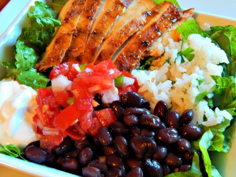 Copycat Chipotle's Chicken Bowl - Chop the meat and use dark meat if you'd like