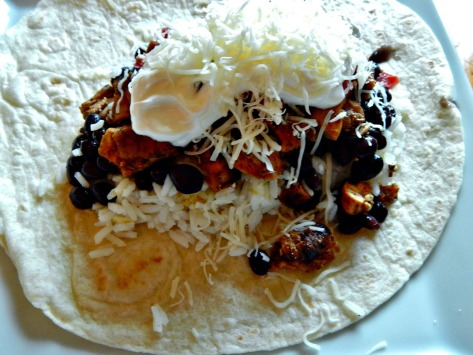 Put your ingredients ever so slightly towards the portion of the tortilla closest to you.