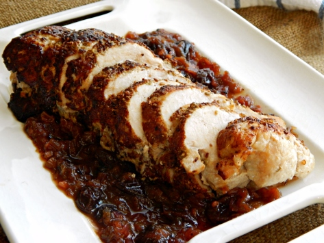 Spice Rubbed Pork Tenderloin with Rhubarb Cranberry Chutney