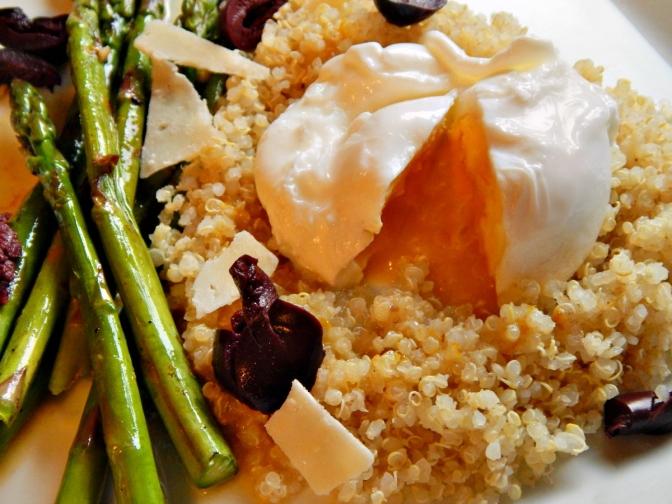 Grilled Asparagus, Egg, Quinoa with Honey Citrus Dressing