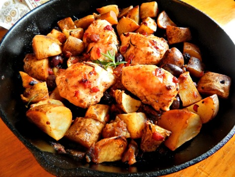 "Skillet Roasted Lemon Chicken - use a large 12"" skillet with extra room for crunchy potatoes"