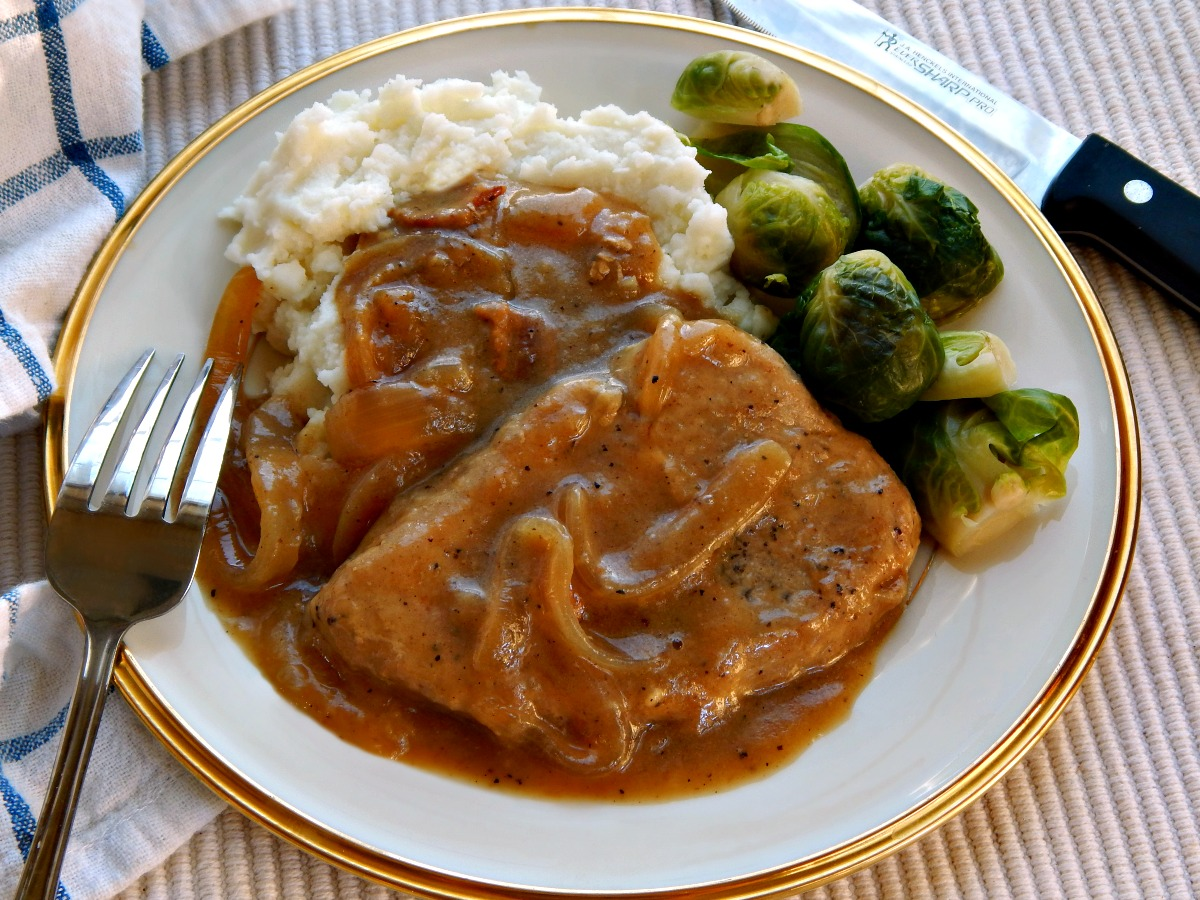 smothered pork chops in onion gravy frugal hausfrau