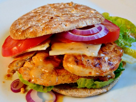 Southwestern Lime Chicken in a Sandwich with Sweet Cayenne Mustard Sauce