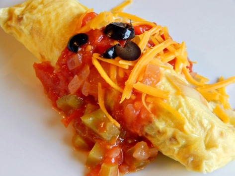 Eat Omelette in a bag from the bag or turn it out. This one has Ranchero Sauce