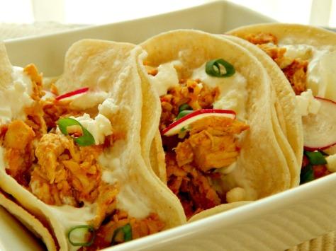 Tinga de Pollo done as Soft Shell Tacos