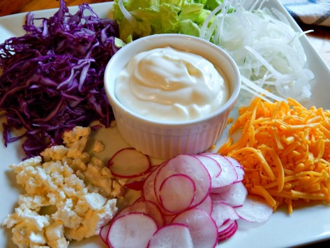 Favorite toppings: Queso Fresco, obligatory orange cheese, thinly sliced red cabbage, onion, radish and lettuce