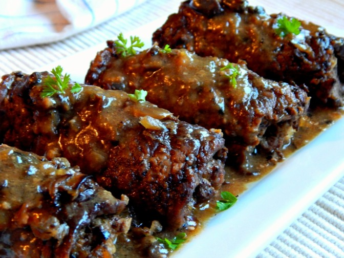 German Beef Rouladen with Mushroom Gravy . $10.00
