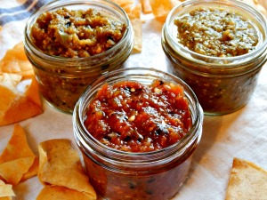 Fire Roasted Red Salsa, front, Fire Roasted Tomatillo, left, Regular Tomatillo, right.