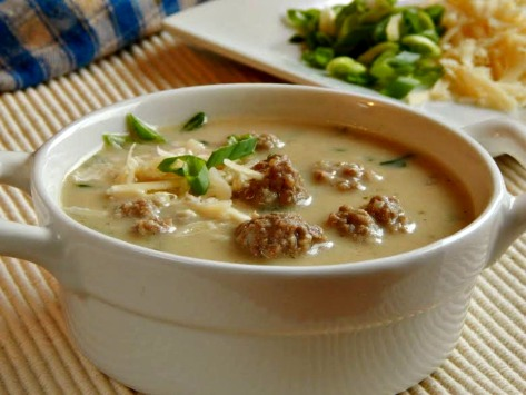 Greek Meatball Soup - tender beef & rice in a beef broth with Parmesan Cream