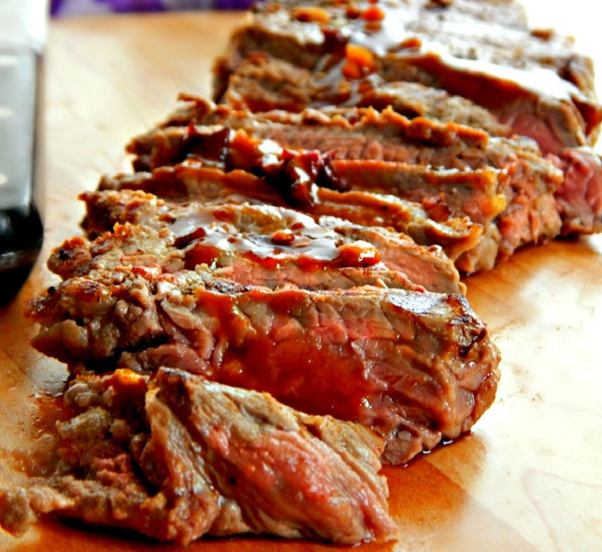 Grilled Steak with Honey Chipotle Glaze