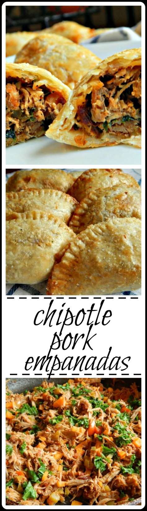 Chipotle Pork Empanadas: Made from pulled pork, a dash of sweet potato & kale and chipotle! Fantastic & easier than you'd think.