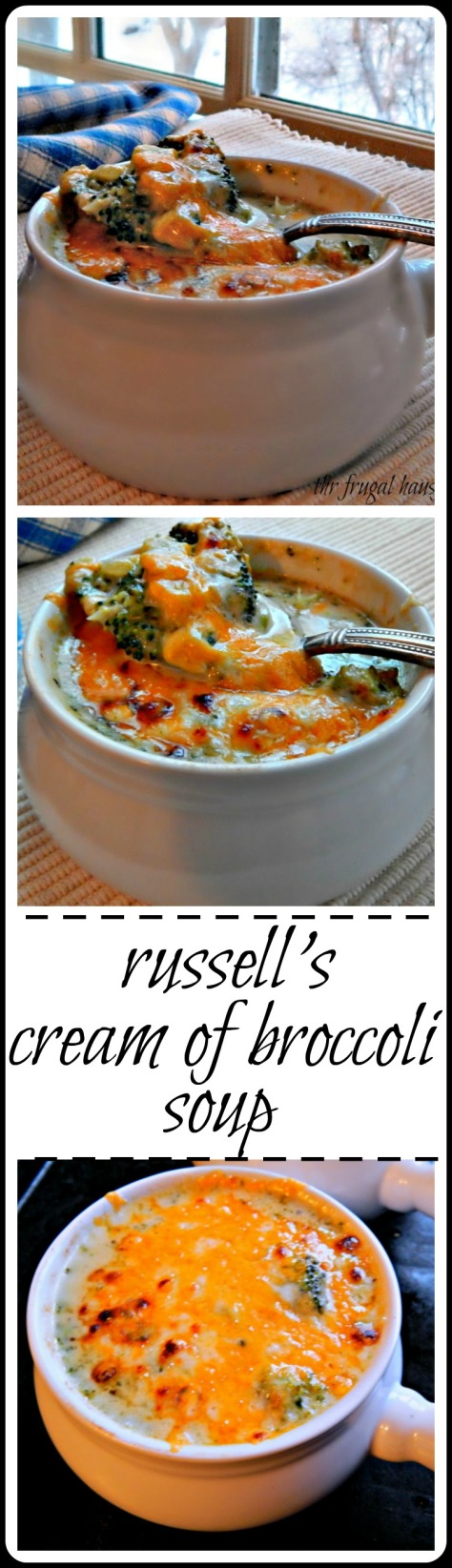 "Russell''s Cream of Broccoli - a delicate soup with a cheddar ""raft"" broiled on top"
