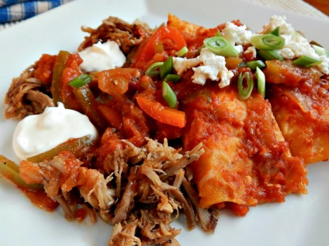 Three Cheese Enchiladas topped with Pulled Pork