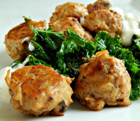 Chicken Meatballs with Herbed Yogurt Sauce