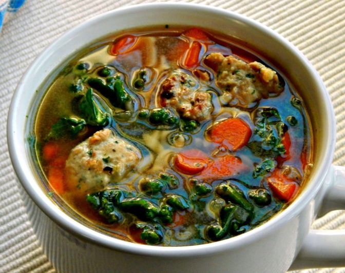 Chicken & Ricotta Meatballs in Italian Wedding Soup