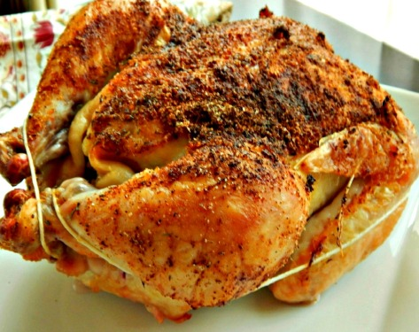 Rotisserie Style Chicken - Just out of the oven, the skin was so crispy & chicken so moist!