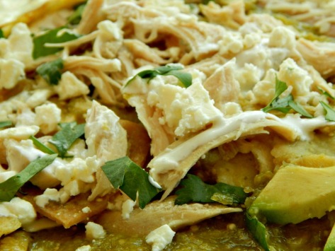 Chilaquiles with Tomatillo Sauce (Salsa Verde) and Shredded Chicken