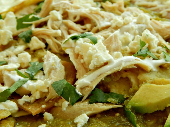 Chilaquiles in Tomatillo Sauce with Shredded Chicken