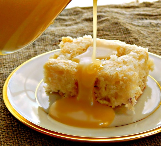 Rhubarb Streusel Coffee Cake with Vanilla Sauce