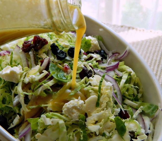 Shaved Brussels Sprouts Salad with Feta, Berries & Almonds