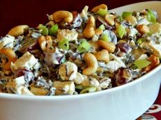 Wild rice chicken salad: https://frugalhausfrau.com/2015/10/12/wild-rice-chicken-salad-waterchestnuts-grapes/