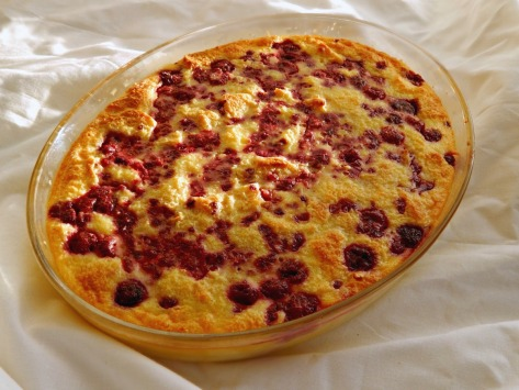 White Chocolate Raspberry Bread Pudding - just out of the oven