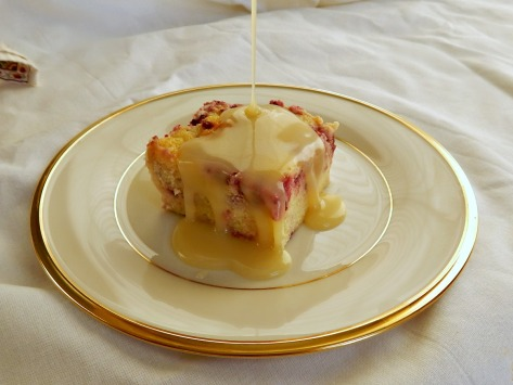 White Chocolate Raspberry Bread Pudding with Amaretto White Chocolate Sauce