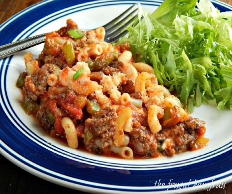 Classic American Goulash sometimes called Macaroni Beef or Chili Mac.