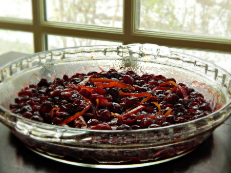 Our Favorite Cranberry Sauce, adapted from Bon Appetit, fresh from the oven.