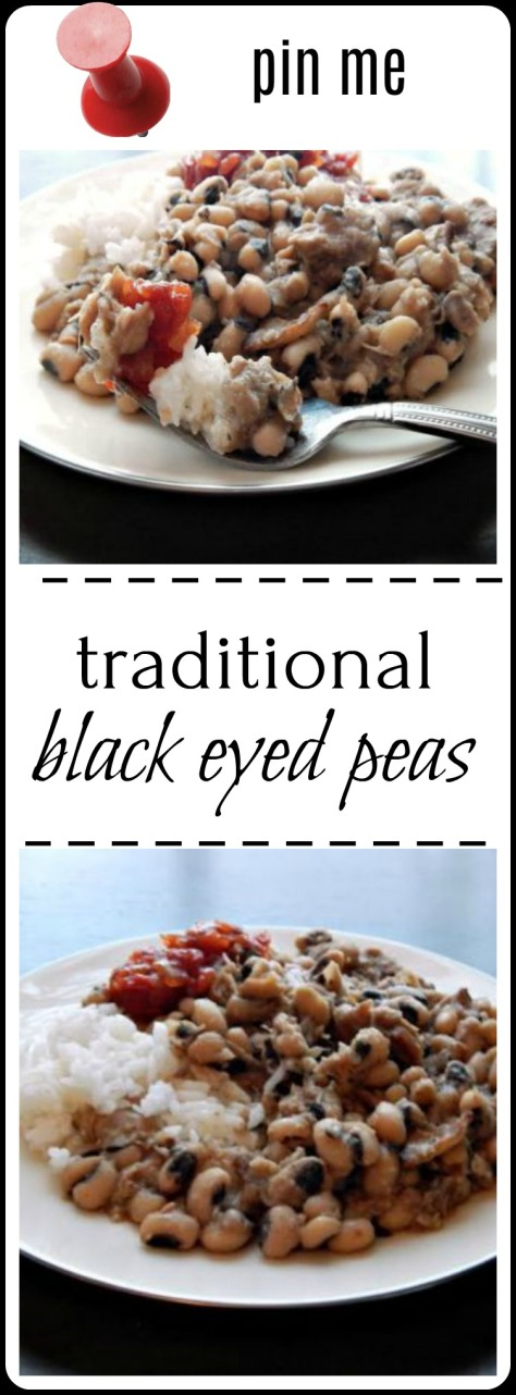Time honored recipe for traditional black eyed peas! For Luck!!