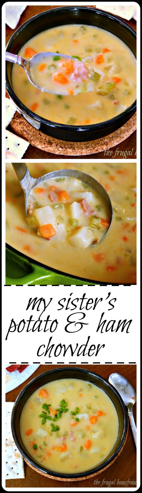 My Sister's Chowder - Seriously good, creamy comfort in a bowl. Fast & easy & you can dress it up how you want. Maybe cheese & bacon?