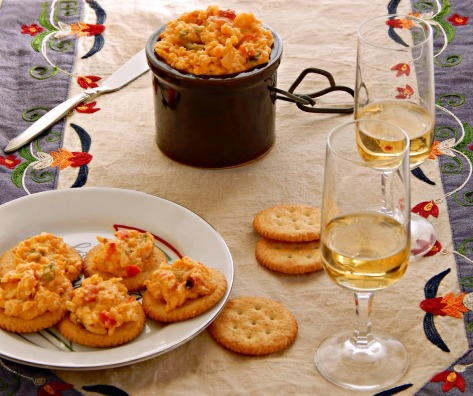 Tequila Spiked Pimento Cheese based on Chef John Sawyer's recipe.